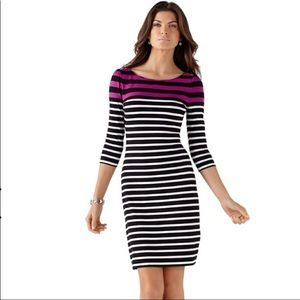 White House Black Market Stripe Knit Shift Dress